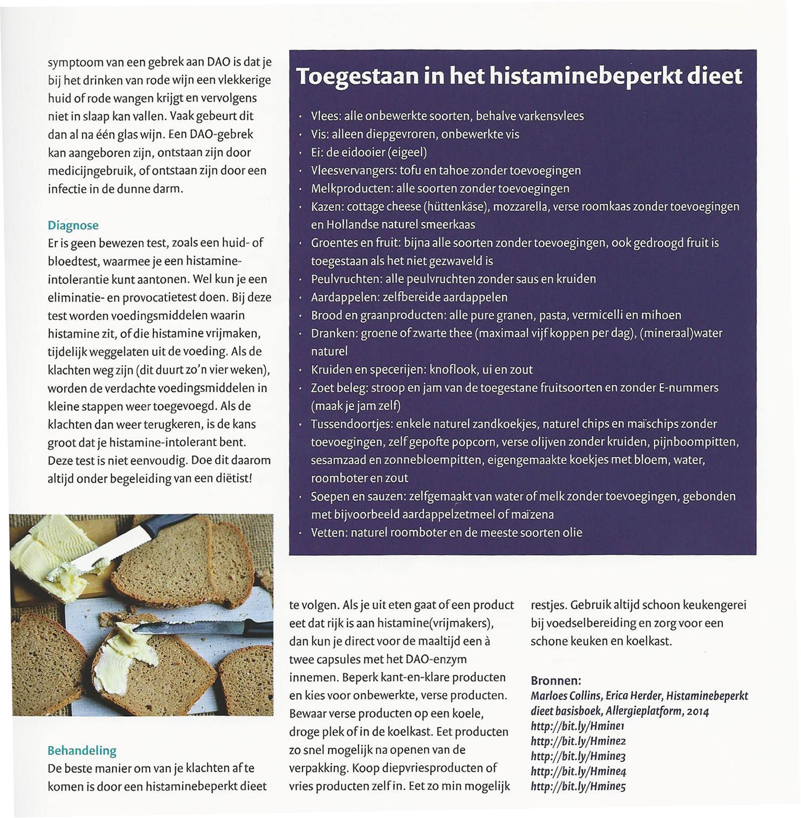 histamine overgevoeligheid dieet